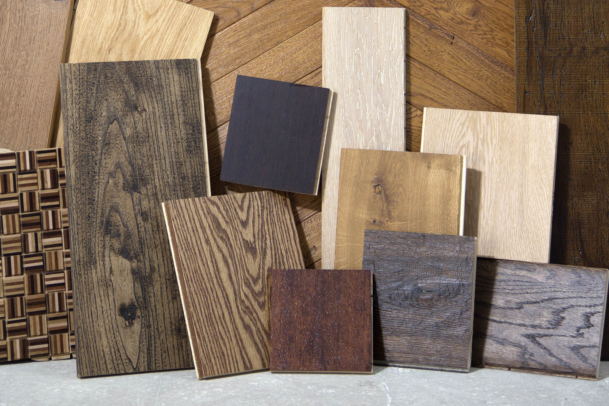 wood slabs on display to show different colors and textures