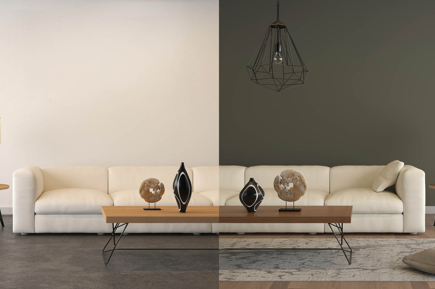 top interior designer designs a modern living room seating area, improved with wall color, ceiling light, and and rug